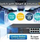 Передача сигнала IP видеонаблюдения на расстояние более 200 метров, при помощи нового 8-ми портового POE коммутатора Planet GSD-1222VHP с LCD дисплеем.