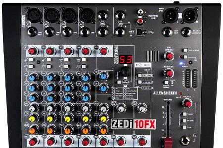 Гибридный компактный микшер  4 × 4 c USB интерфейсом и FX процессором ZEDi-10FX от Allen & Heath